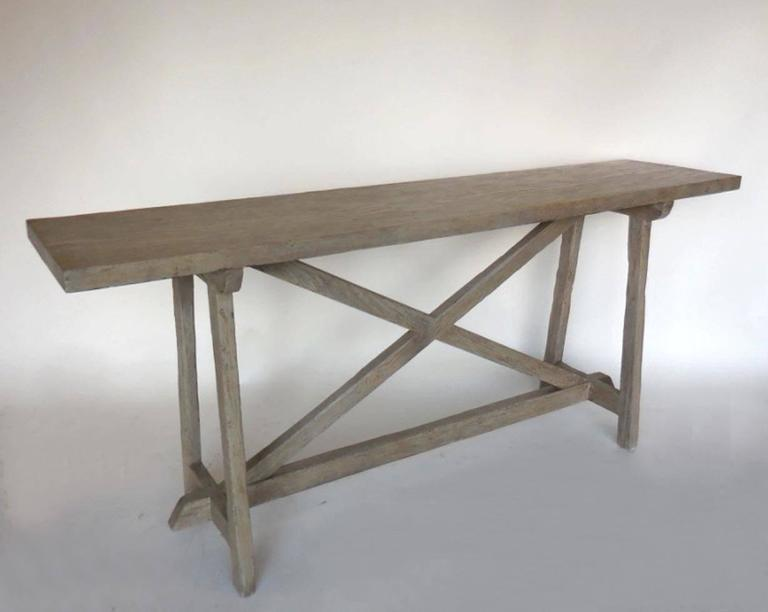 Custom reclaimed wood console with driftwood finish for for Driftwood tables handmade