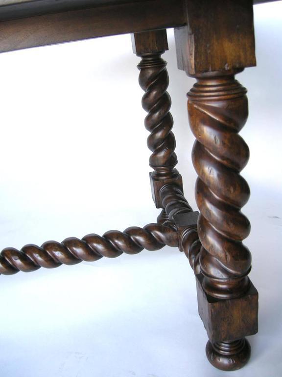 Dos Gallos Custom Walnut Barley Twist Spiral Leg Dining Table 2