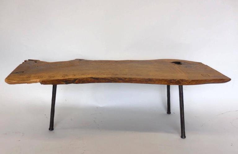 Organic Modern Live Edge Wood Slab Coffee Table Or Bench With Three Legs  For Sale