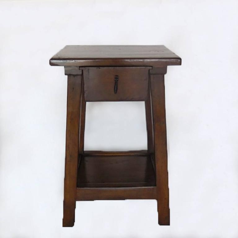 Custom walnut side tables or nightstands with drawer and shelf. Can be made in custom dimensions in Walnut, Mahogany or Oak. Iron pull. As shown in a dark walnut with medium distress. Bench made in Los Angeles by Dos Gallos Studio. Price listed is