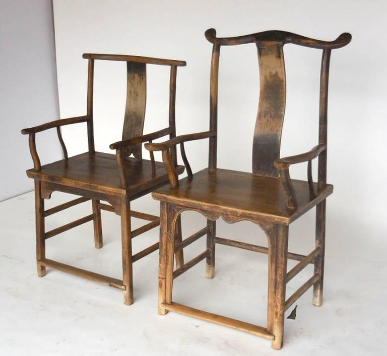 18th Century Qing Dynasty Chinese Woman and Man's Chairs In Good Condition For Sale In Los Angeles, CA