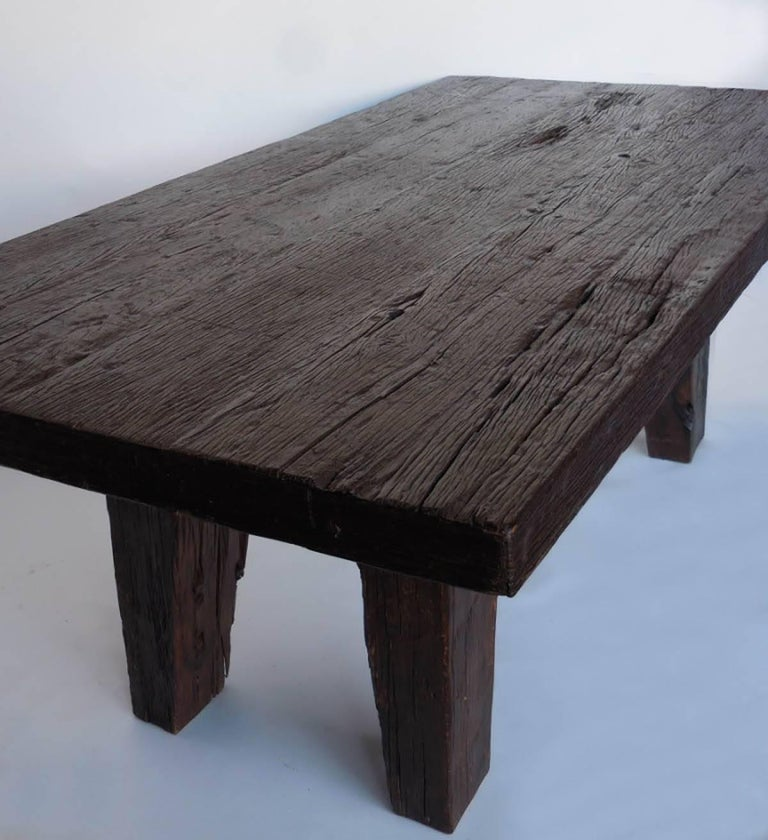 Rustic Kitchen Tables For Sale: Rustic Modern Dining Table With Thick Top For Sale At 1stdibs