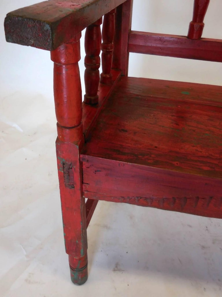 Small vintage painted carved bench for sale at stdibs