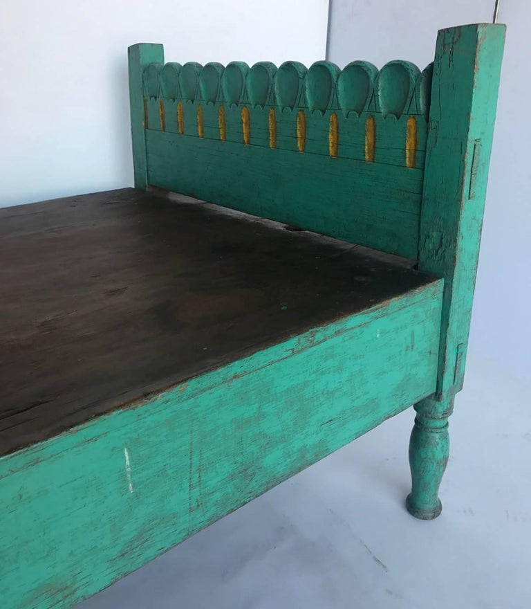 Wood Folk Art Painted Guatemalan Bed or Daybed For Sale