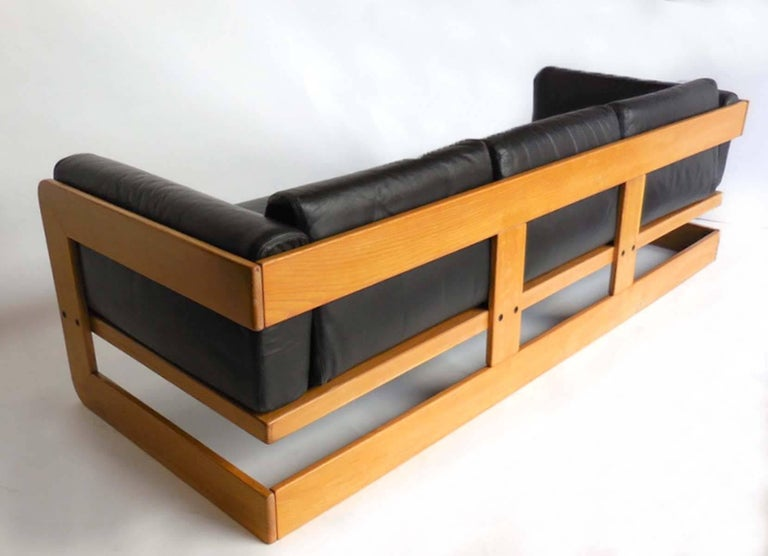 Modern Giuseppe Raimondi Leather Sofa and Chair For Sale