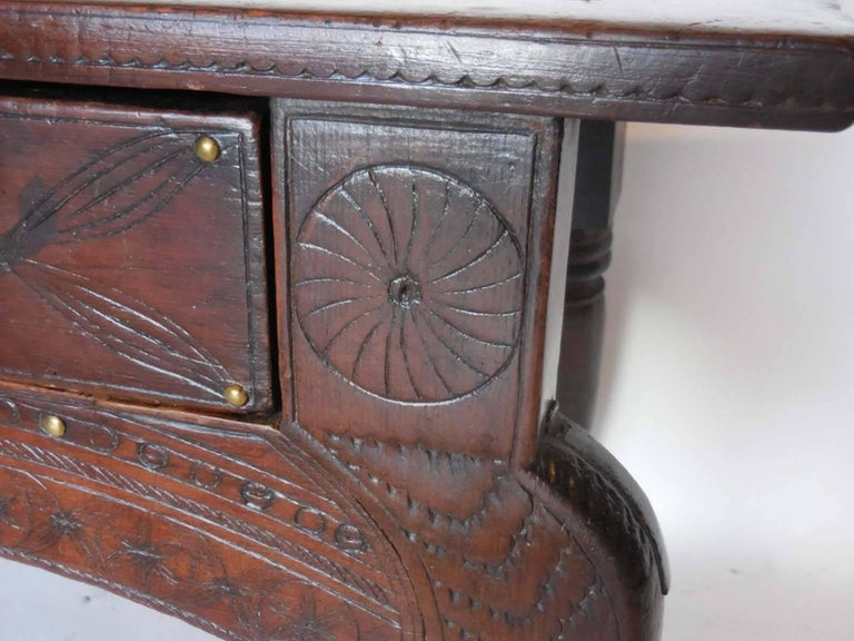 Wood Spanish Colonial Carved Table For Sale