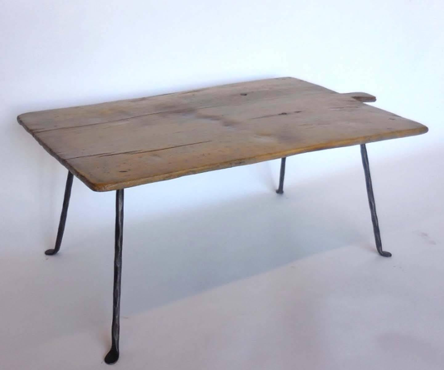 Guatemalan Set Of Four Antique Wooden Small Tray Tables With Forged Iron  Legs For Sale
