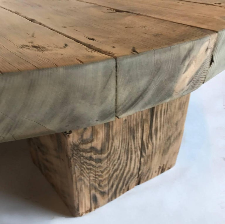 Low Rustic Coffee Table: Round Rustic Modern Wood Low Coffee Table At 1stdibs