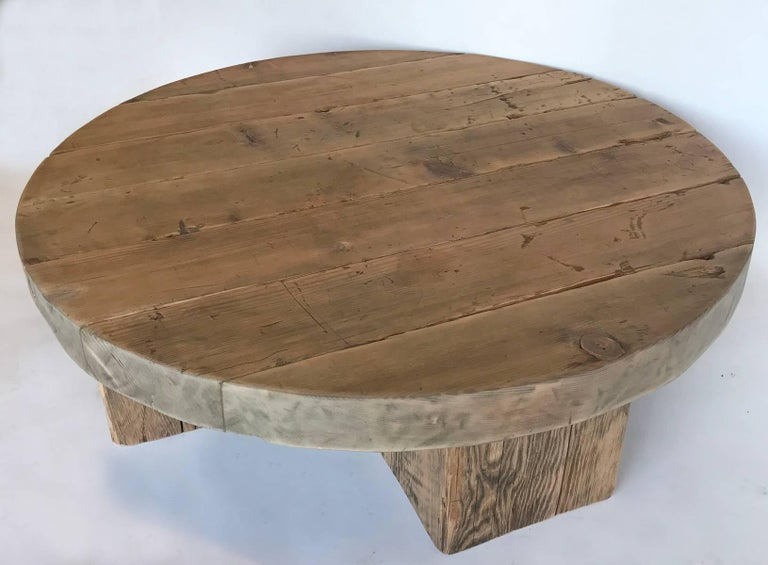 Round Rustic Modern Wood Low Coffee Table At 1stdibs