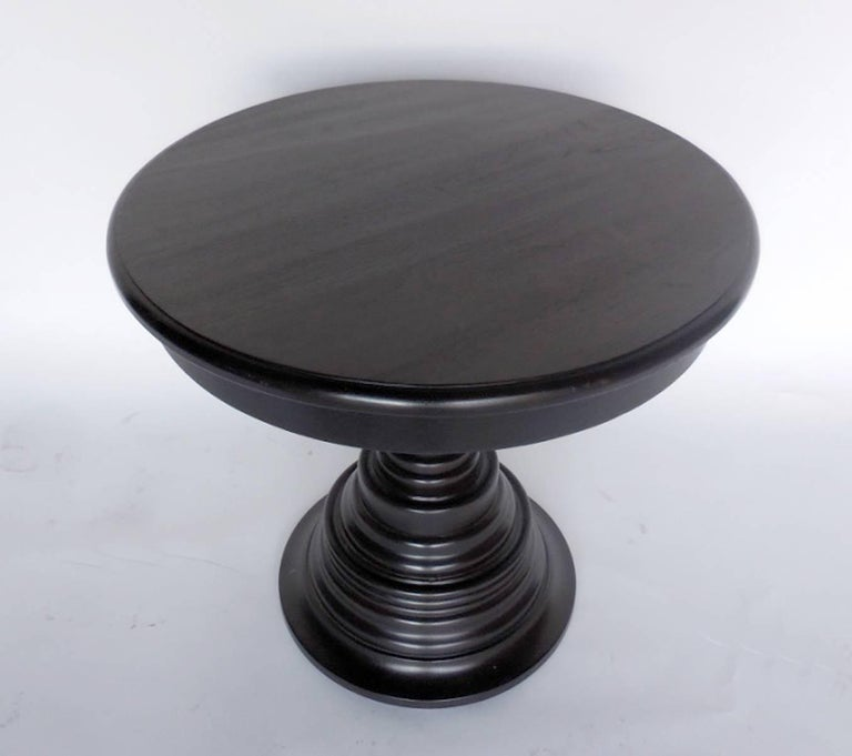 Custom beehive pedestal table. This particular one is available off the floor and is returnable. Custom made pieces are not. Regular lead time is 12 weeks. Rush options available. As shown, in walnut with an ebony finish and light distress. Made in
