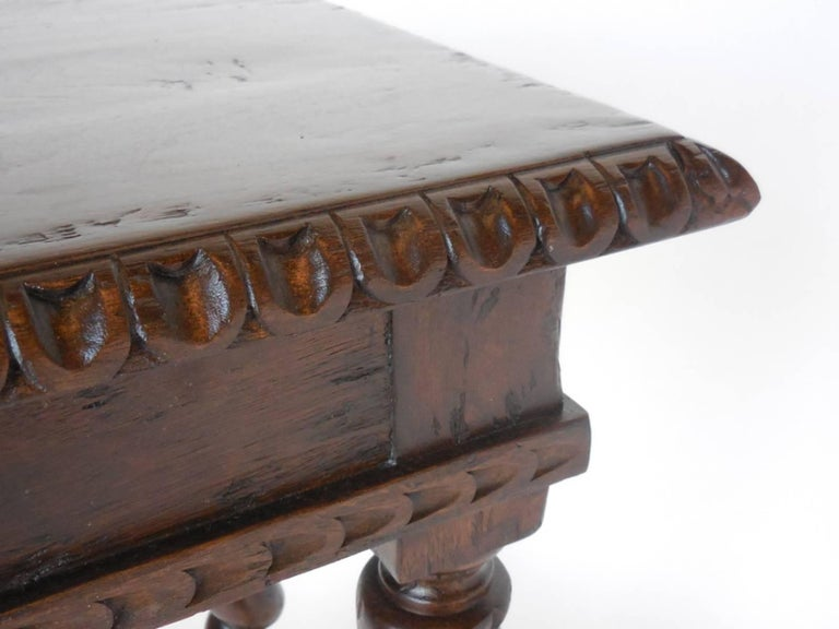 Custom hand carved walnut writing desk with pencil drawer