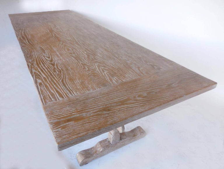 Country Custom Oak Classic Trestle Table For Sale