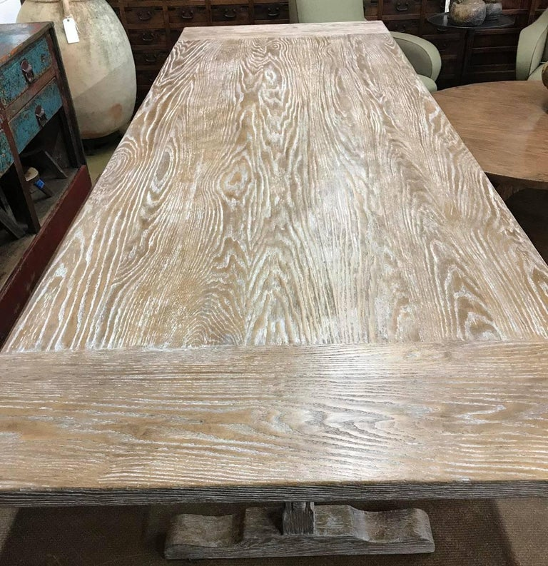 Custom Oak Classic Trestle Table For Sale 1