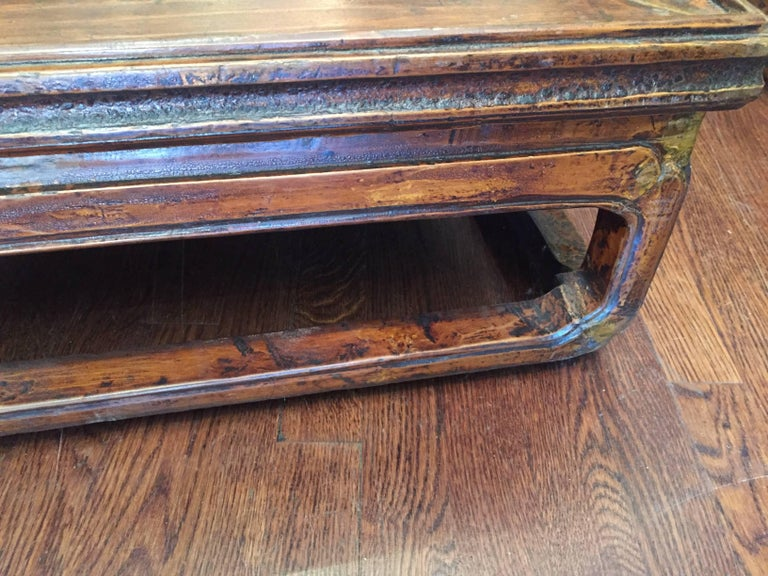 19th Century Q'ing Dynasty Elm Kang Table with Golden Painting 2