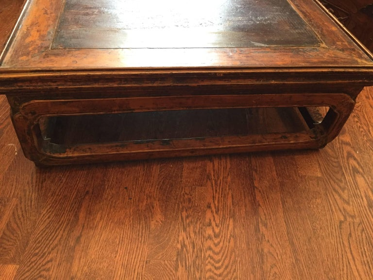 19th Century Q'ing Dynasty Elm Kang Table with Golden Painting 4