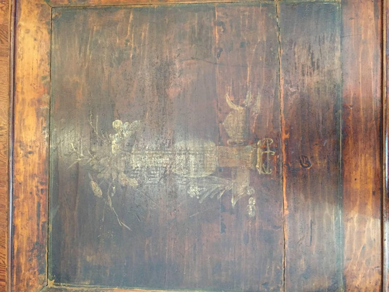 19th Century Q'ing Dynasty Elm Kang Table with Golden Painting 6