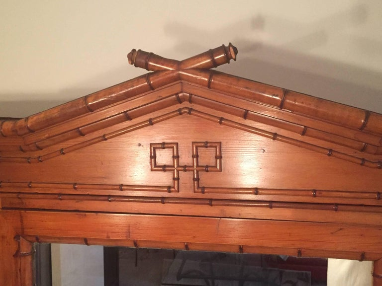 Louis XV Late 19th Century French Provincial Triple Faux Bamboo Bookcase For Sale