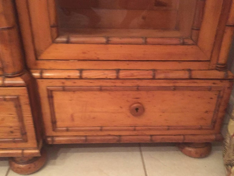 Polished Late 19th Century French Provincial Triple Faux Bamboo Bookcase For Sale