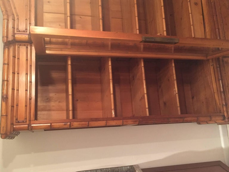 Late 19th Century French Provincial Triple Faux Bamboo Bookcase For Sale 2