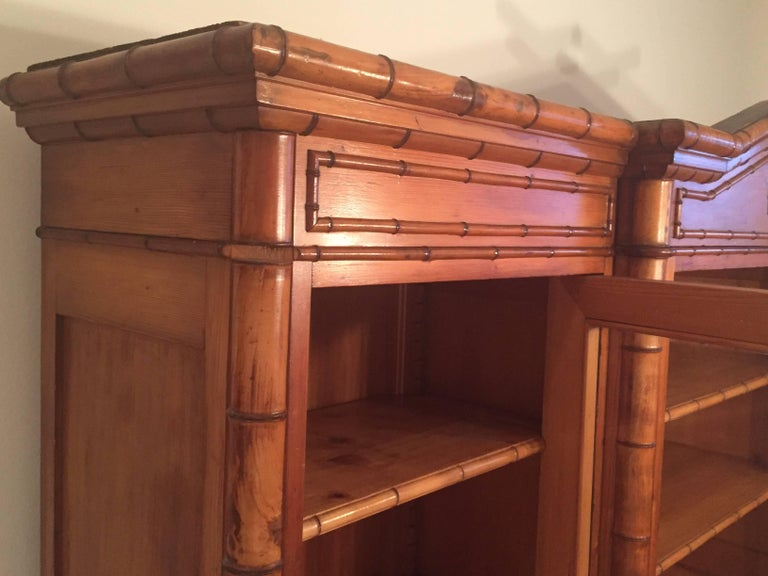 Late 19th Century French Provincial Triple Faux Bamboo Bookcase For Sale 3