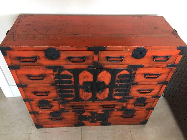 Late 19th century Meiji period Kiri wood Japanese Tansu with original iron hardware.
