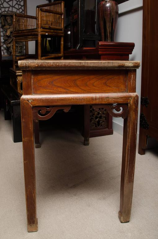 Qing Dynasty Chinese Three-Drawer Writing Table in Original Finiah 6