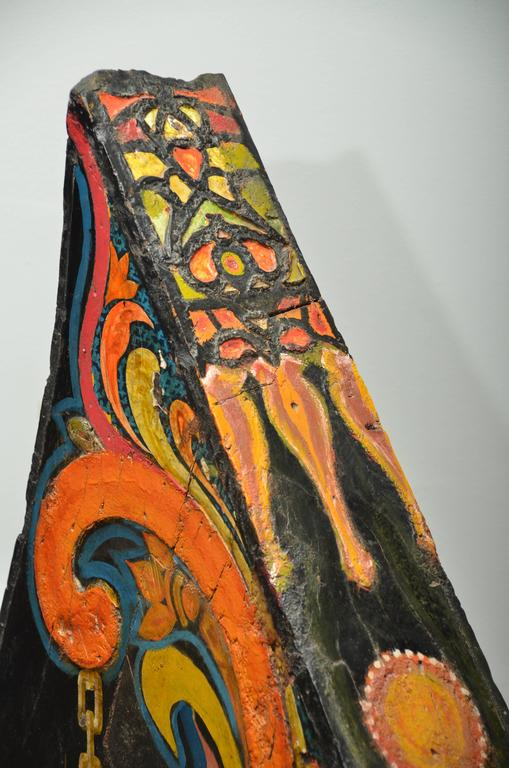 """Late 19th century, Indonesian """"Madura"""" lacquered and embellished carved and lacquered wood boat prow."""