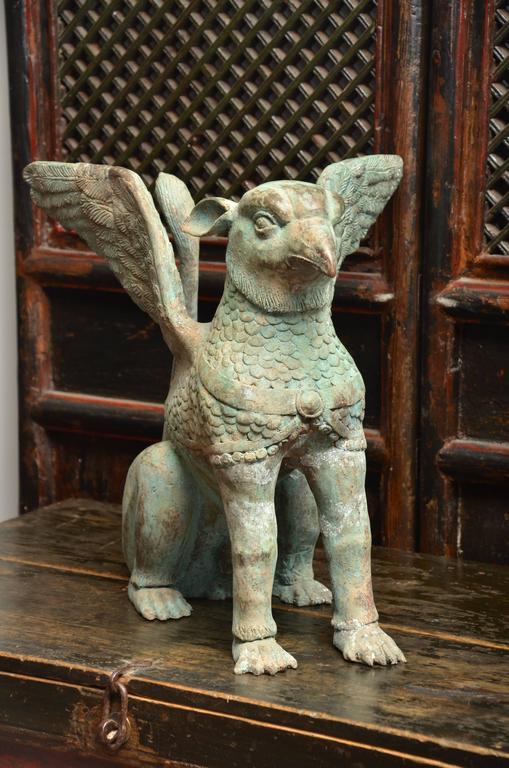Cast Mid Century Thai Bronze Garden Statue For Sale