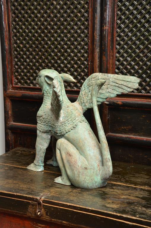 Mid-20th Century Mid Century Thai Bronze Garden Statue For Sale