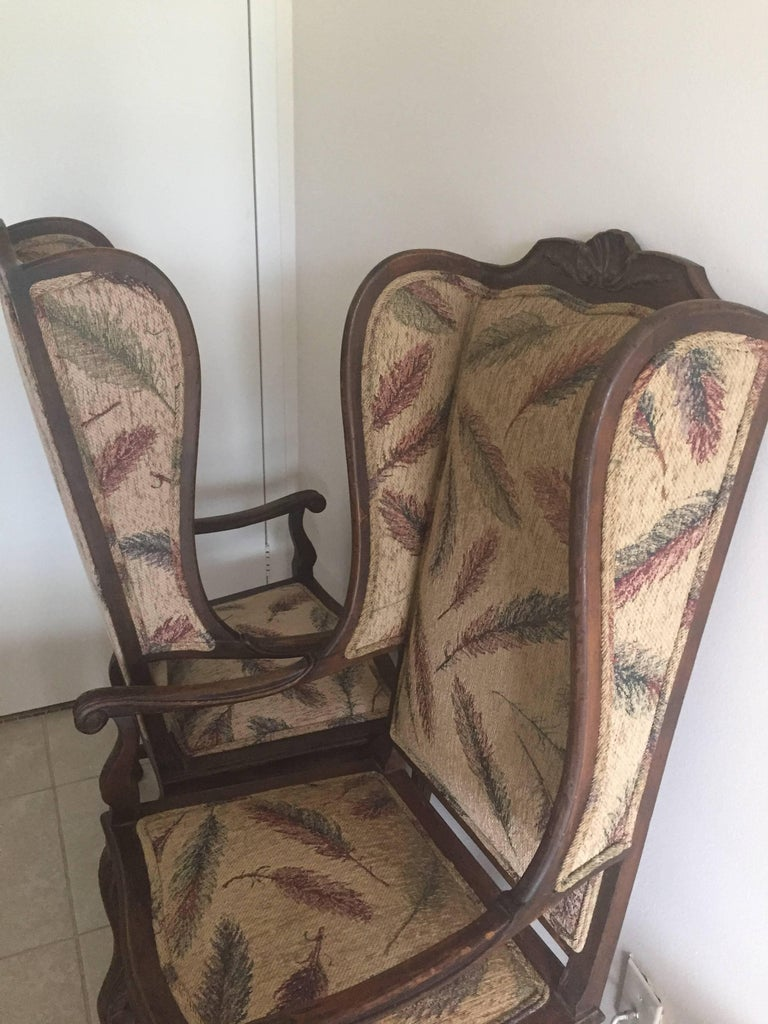 Pair of Late 19th Century French Provincial Louis XVI Style Modified Wing Chairs For Sale 1