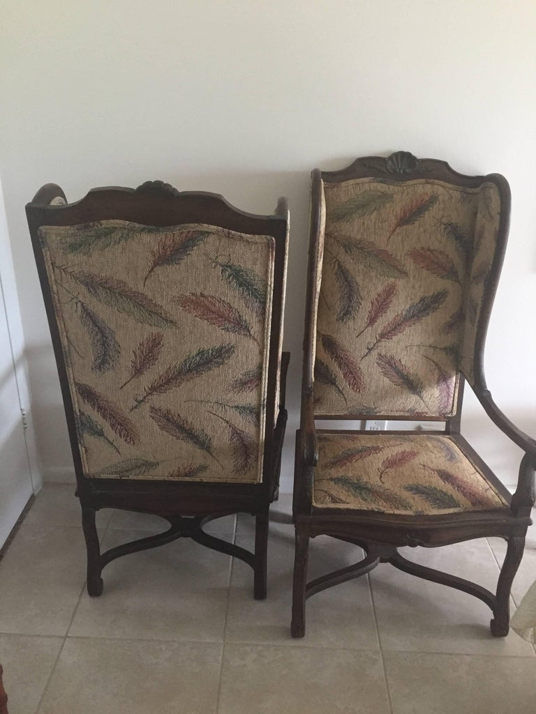 Pair of Late 19th Century French Provincial Louis XVI Style Modified Wing Chairs In Excellent Condition For Sale In East Hampton, NY