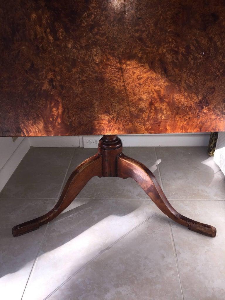 Early 19th Century Biedermeier Tiger Maple Tilt-Top Table For Sale 3