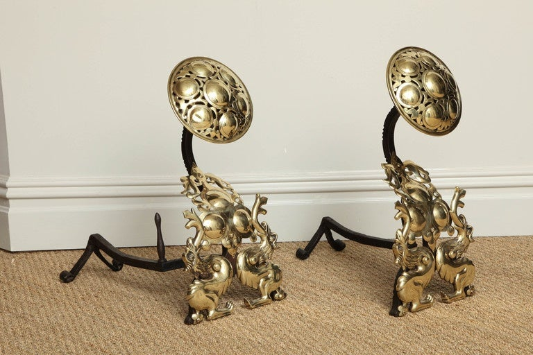 Brass Striking Pair of Arts and Crafts Andirons For Sale