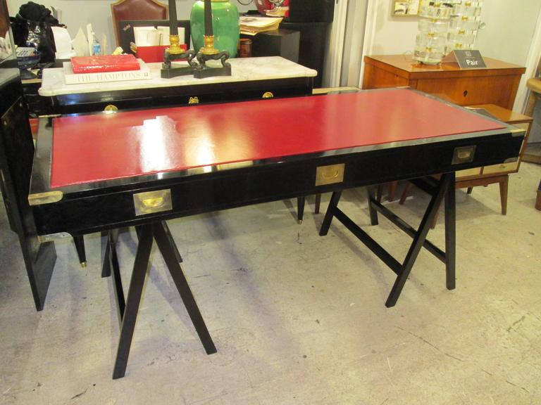 French Ebonized Campaign Desk Red Leather Top And Applied Brass 3