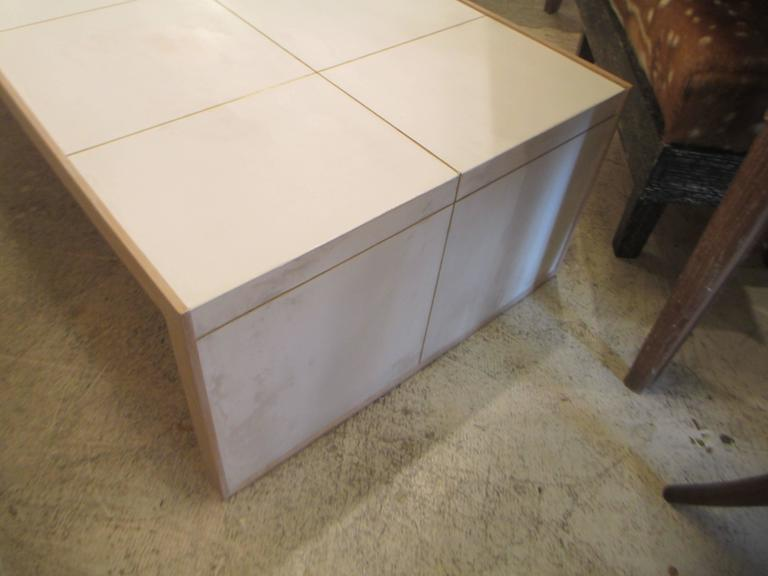 Oversized Cerused Oak and Brass Inlaid Coffee Table 5