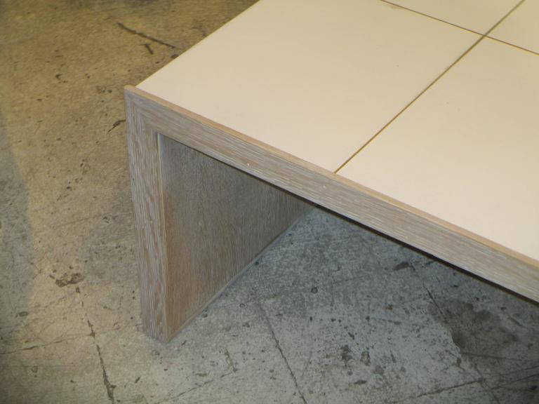 Oversized Cerused Oak and Brass Inlaid Coffee Table 2
