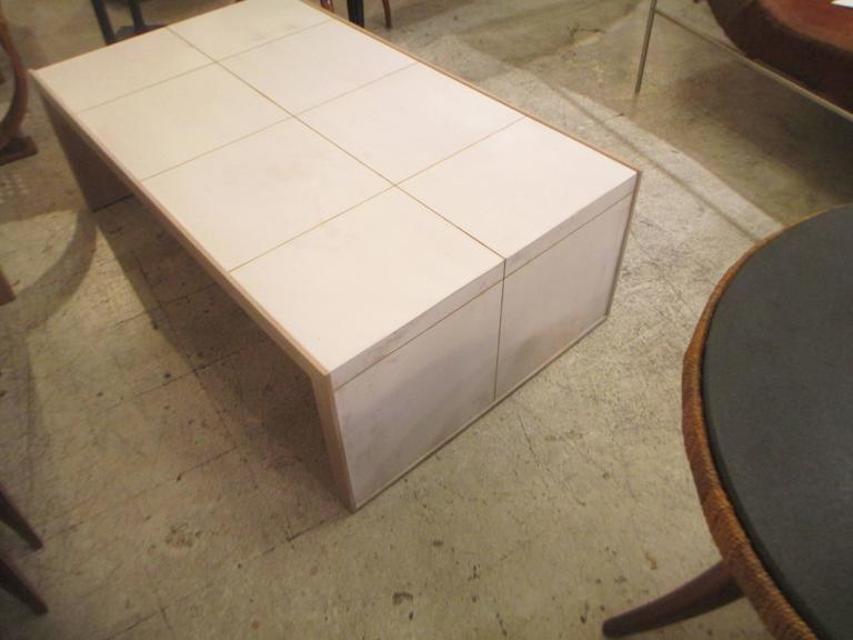 Oversized Cerused Oak and Brass Inlaid Coffee Table 3