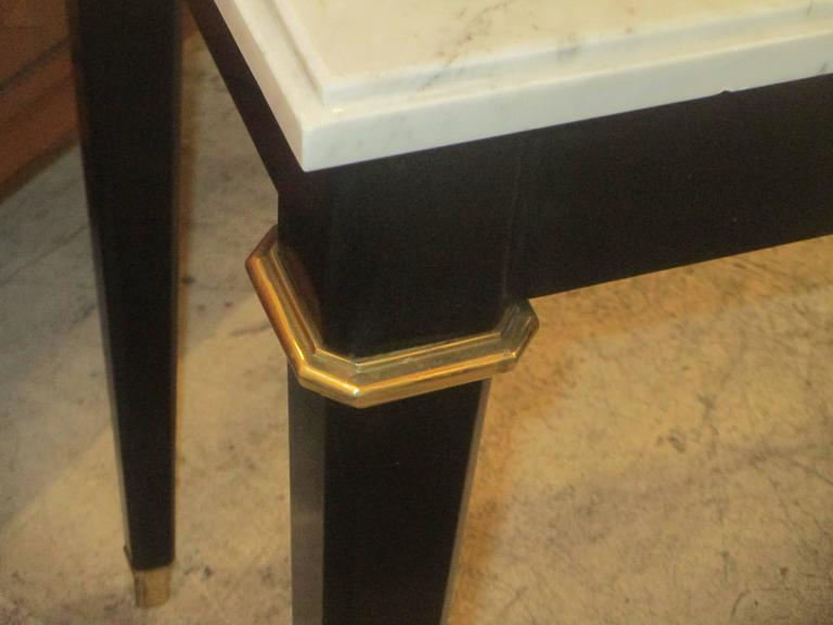 Ebonized Console with Marble Top Attributed to Maison Jansen For Sale 1