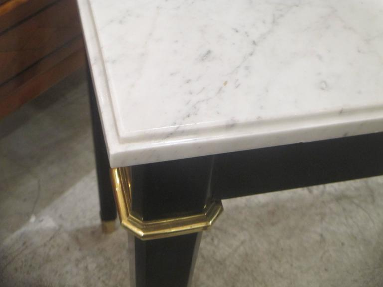 20th Century Ebonized Console with Marble Top Attributed to Maison Jansen For Sale