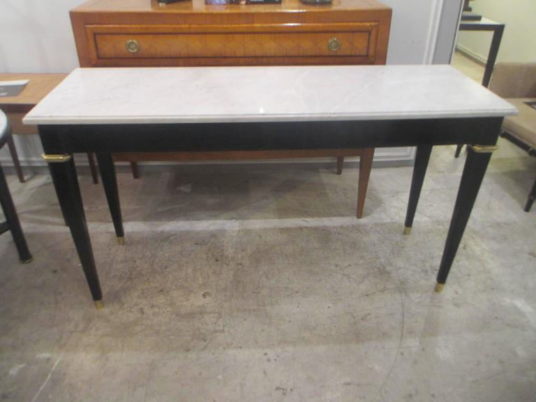 French Ebonized Console with Marble Top Attributed to Maison Jansen For Sale