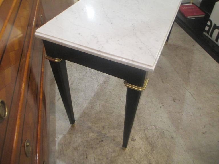 Ebonized Console with Marble Top Attributed to Maison Jansen 4