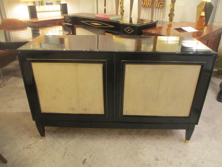 Pair of French Bronze-Inlaid Ebonized Parchment Cabinets 2