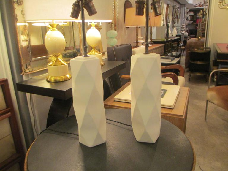 Pair of Cubist Inspired Plaster Lamps 2