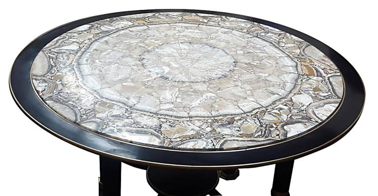 Sculptural Ebonized Bronze-Mounted Center Table with Onyx Top 3