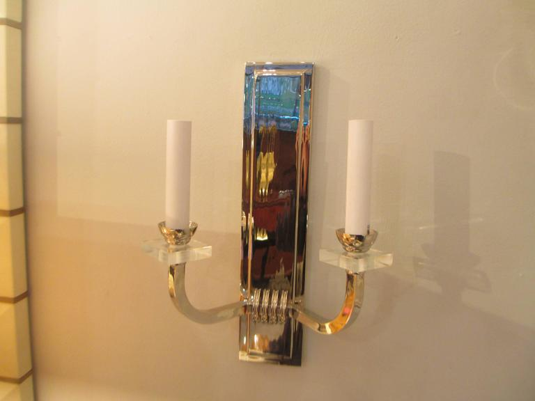 Custom Pair of Nickel- Plated Two Arms Sconces 3