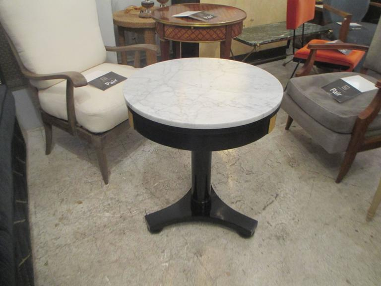 Ebonized Marble Top Gueridon with Bronze Mounts In Excellent Condition For Sale In New York, NY