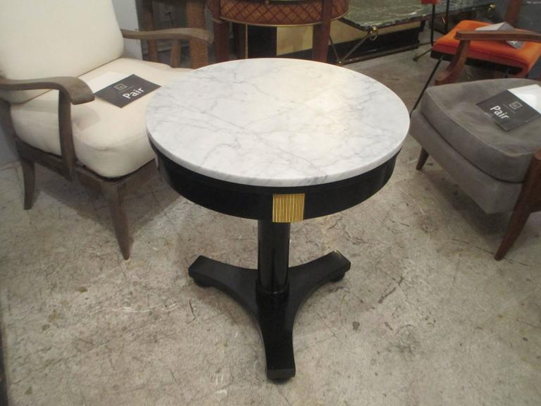 French Ebonized Marble Top Gueridon with Bronze Mounts For Sale