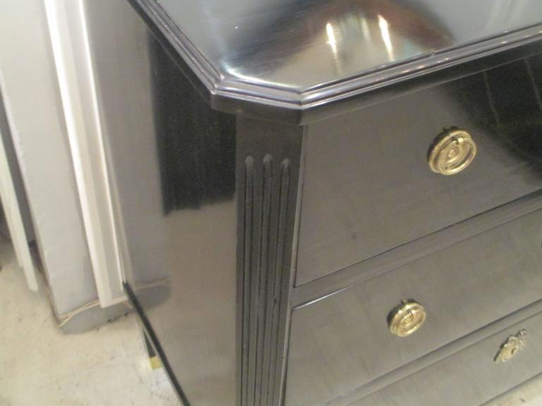 Ebonized Louis XVI Style Commode on Tapered Legs Ending in Brass Sabots 3