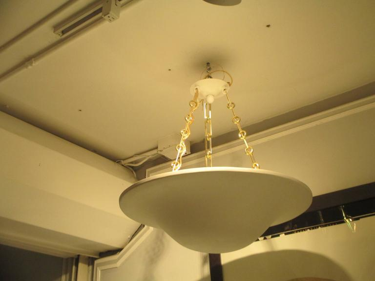 American Custom Plaster Chandelier with Brass Chain For Sale