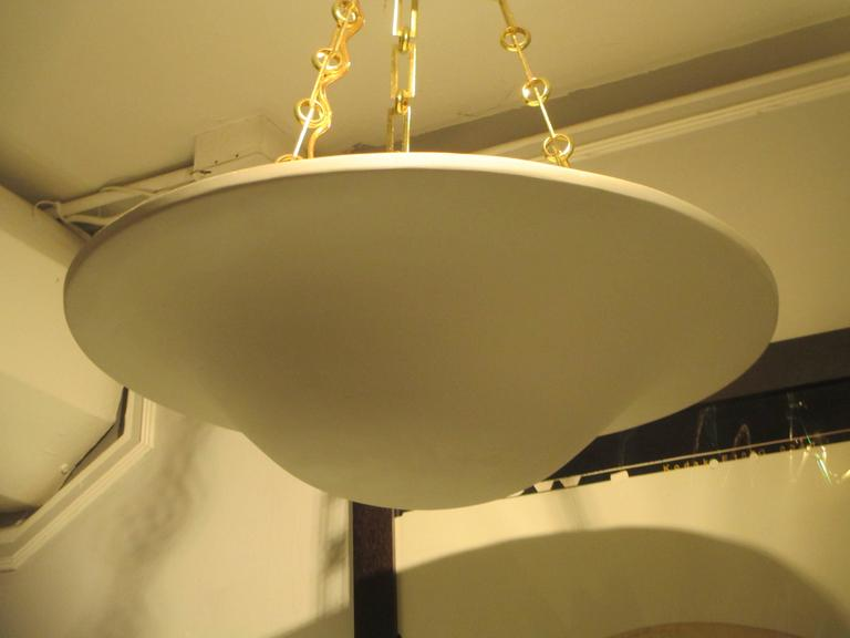 Contemporary Custom Plaster Chandelier with Brass Chain For Sale